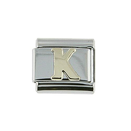 Stainless Steel 18k Gold Italian Charm Initial Letter K for Italian Charm Bracelets
