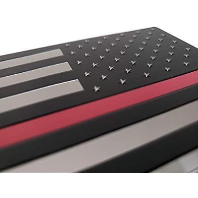EyeCatcher USA Flag Red Line Firefighter Emblem Decal - 2 Pack: Automotive
