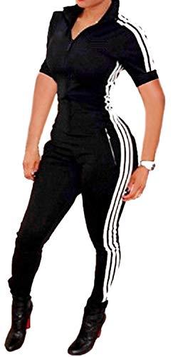 Bodycon4U Women Lycra Spandex Zentai Long Sleeve Unitard Bodysuit Jumpsuit (M, Shortsleeve-Black)