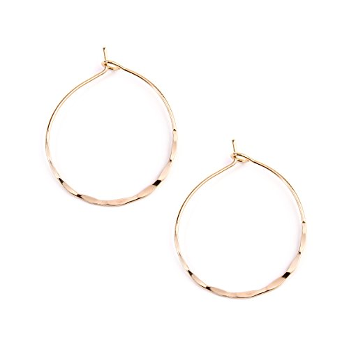 (RIAH FASHION Simple Geometric Polygon Lightweight Hoop Earrings - Classic Thin Wire Delicate Threader Dangles Octagon/Pentagon/Hammered Curved Crescent Arc (Circle Gold Small))