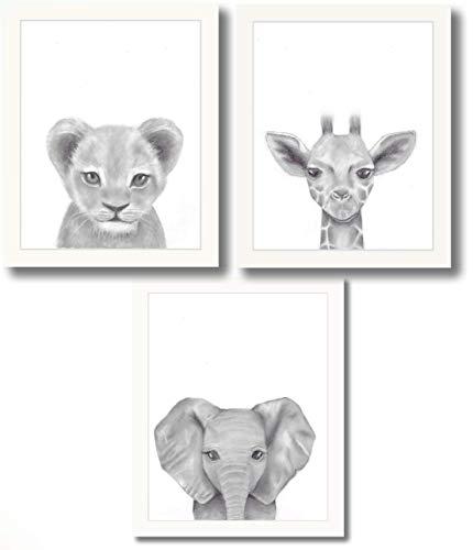 Set of 3 Framed Baby Woodland Safari Animal Rustic Nursery Decor (Safari White Stained Frame, 11″x14″)