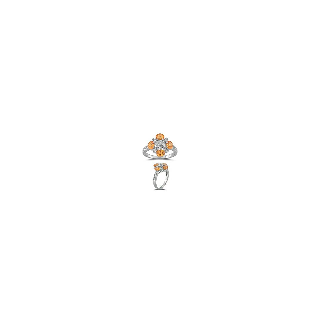 Studs Galore 0.12 Cts Diamond & 1.16 Cts AA Mandarin Garnet Ring in 14K White Gold