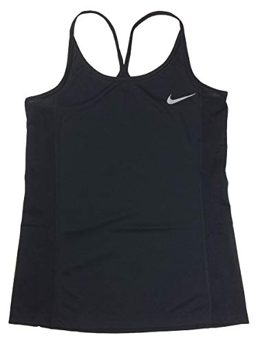 Nike Mesh Tank Top - NIKE Womens Dri-Fit Strappy Back Mesh Running Tank Top Shirt (Small, Black)