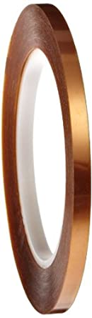 """Polyimide Double Sided Masking Tape, 3"""" Core, 500 Degree F Performance Temperature, 30 lbs/inch Tensile Strength, 1 mil Thick, 36 yds Length x 1/4"""" Width, Amber"""