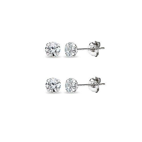 2 Pair Set 14K White Gold Cubic Zirconia Tiny 3mm Round Stud Earrings for Men, Women, Boys & Girls
