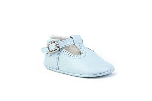 Patucos Pepitos para Bebé Todo Piel, mod.247. Calzado infantil Made in Spain, Garantia de calidad. Azul Celeste