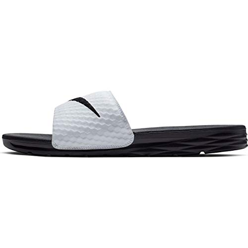 Nike Men's Benassi Solarsoft Slide Sandal (8, White/Black)