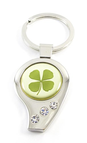 Genuine Real Four-leaf Lucky Clover Shamrock Crystal Amber Accessory, Lucky Number 9 Nine IX. (1-Pack)