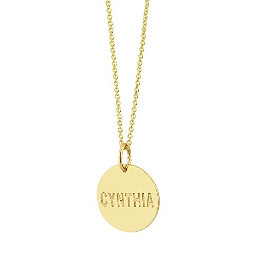 Gold Name 14k Any Necklace (Tiny 1/2 Inch Round Disc Charm Pendant Solid 14K Gold Personalized Deep Laser Engraved Any Name GC04 (16))
