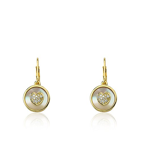 Little Miss Twin Stars Little Miss Flower Girl 14k Gold-Plated Coin Pearl Accented With CZ Heart Dangle Leverback Earring/ (Last Flower The Spring Pearl)