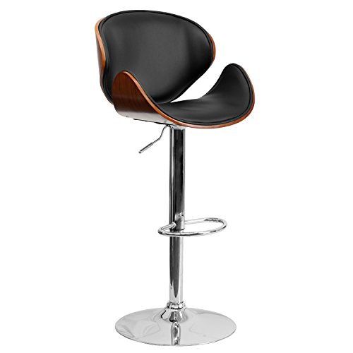 Flash Furniture Walnut Bentwood Adjustable Height Barstool with Curved Back and Black Vinyl Seat ()