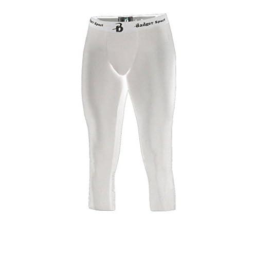 Badger Big Boy's Athletic Compression Spandex Crop Tights, White supplier