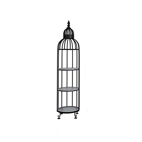 Birdcage Plant Stand - CHENGXI Bird cage Plant Stands Indoor Golden Black White Creative Metal Plant Stand Ornaments Storage Decorative Frame Flower Pot. (Color : Black-A, Size : S)
