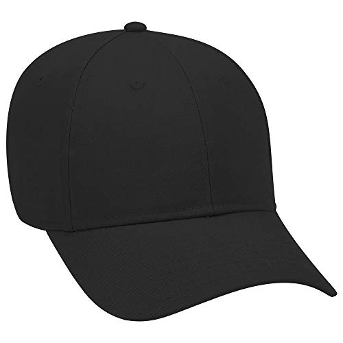 OTTO Brushed Cotton Blend Twill 6 Panel Low Profile Baseball Cap - Black