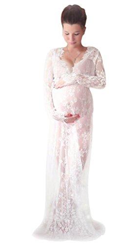 NiSeng Mujer Embarazada Cordón De La Pestaña V-cuello Manga Larga Fotografía Maxi Vestido Madre Embarazada Cámara Herramienta Blanco