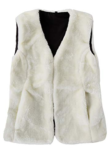 SUNDAY ROSE Women's Faux Fur Vest Warm Sleeveless Jacket Gilet with Pockets,Color Off-White,Size S