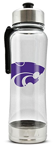 - NCAA Kansas State Wild Cats 20oz Clip-On Clear Plastic Water Bottle