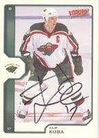 Filip Kuba Minnesota Wild 2002 Upper Deck Victory Autographed Card. This item comes with a certificate of authenticity from Autograph-Sports. Autographed
