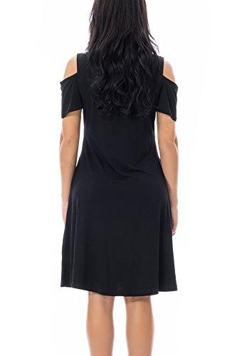 Smallshow Maternity Nursing Dress Cold Shoulder Breastfeeding Dresses for Women Medium Black by Smallshow (Image #3)