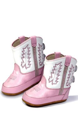 (Old West Kids Boots Girls' Poppets (Infant/Toddler), Pink/White, 2)