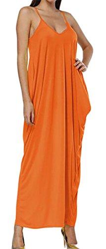 Lungo Libero Womens Solido Accoppiamento Pieghettata Cruiize Vestito Tasche Colore collo Arancione V Cinghia gxqwTv