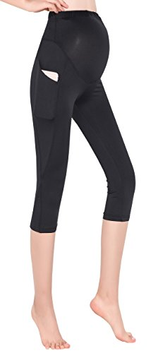 Foucome Women's Maternity Active Workout Yoga Capri Leggings Over-Bump Pregnancy Tights Pants with Pockets Black