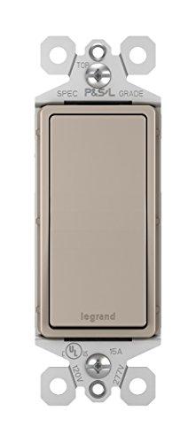 Legrand - Pass & Seymour radiant TM873NICC10 15A 3-Way Paddle Rocker Light Switch Rocker Wall Light Switch Satin Finish, Brushed Nickel Finish