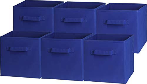 6 Pack - SimpleHouseware Foldable Cube Storage Bin, Dark Blue