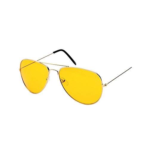 Sunglasses for Men and Women, JOYFEEL Polarized Metal Frame Night Vision Eyewear Vintage Sun Glasses for Driving Gold