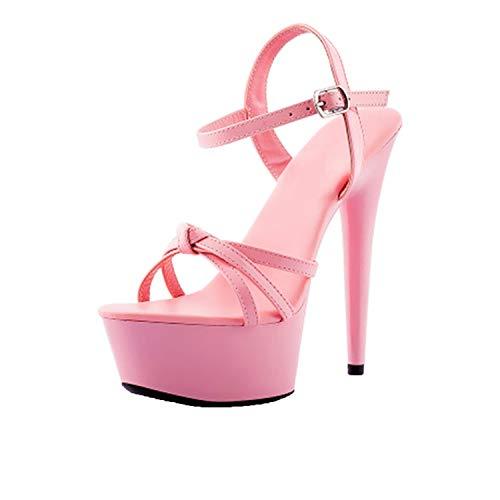 Stripper High Heels Gothic Black Platform Shoes Pumps Two Strap Sandals Large Size Strappy,Pink Heel 15cm,38