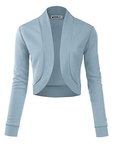 (TWINTH Women's Knit Cardigan Sweaters Long Sleeve Open Front Shrug Cropped Bolero Denim Small)