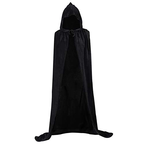 Loritta Hooded Cloak Unisex Velvet Cape Halloween Christmas Party Vampire Costumes Black