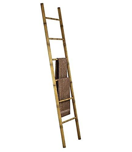 Eurobrico - Escalera de bambú para toallas - Original toallero con diseño de escalera y 6 peldaños - Complemento decorativo y moderno para el baño: ...