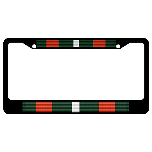 URCustomPro Coast Guard Achievement Medal Ribbon License Plate Frame Military Pride, Stainless Steel Car Tag Frame, License Tag Holder with Screw Caps for US Standard