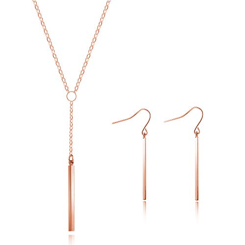 (Q﹠YFH Silver Y Lariat Bar Necklace Earrings Set for Women Minimalist Drop Bar Y Chain Pendant Vertical Bar Dangle Earrings Jewelry (Y Necklace Rose Gold))