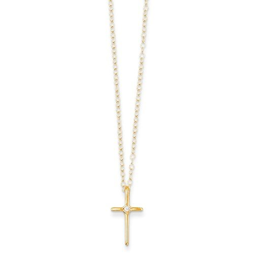 Solid 14k Yellow Gold Children Girl Baby Kids Toddler .01ct Diamond Cross Crucifix Necklace Chain - Baby Gold Crucifix