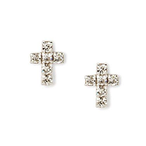 Claire's Accessories Girls Sterling Silver Rhinestone Cross Stud Earrings