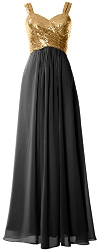 Straps black Women Long Wedding Formal Gown Cowl Macloth Sequin Back Gold Dress Bridesmaid 7ZwZqd5