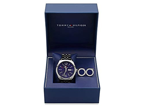 8b99ee38 Tommy Hilfiger Mens Charlie Stainless Steel Wristwatch and Cufflinks Gift  Set: Amazon.co.uk: Watches