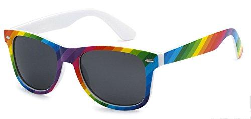 Sunglasses Classic 80S Vintage Style Design  Rainbow  Smoke
