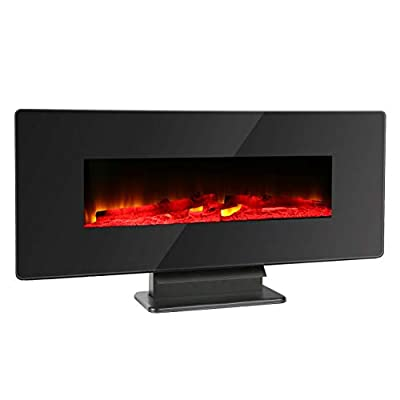 Monllack Hanging Electronic Fireplace,Fireplace Log Burning Flame Effect Electric Stove Eco Ultra Quiet Blower Multifunctional Hanging Electronic Fireplace