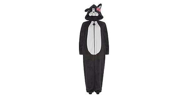 Pug perro Onesie pijama (francés Bulldog para mujer y niñas. gris Pug Charcoal XL: Amazon.es: Ropa y accesorios