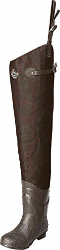 Pro Line 3 Ply Stretch Nylon Hip Wader with Cleated Sole, Dark Brown, Size 9