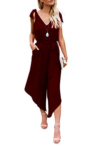 BELONGSCI Women Outfit Sleeveless Shoulder Bandage Waistband Sexy V-Neck Wide Leg Long Jumpsuit with Belt Wine Red (Belt Wine)