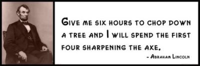 Wall Quote - Abraham Lincoln - Give Me Six Hours to Chop Down a Tree and I Will Spend the First Four Sharpening the Axe