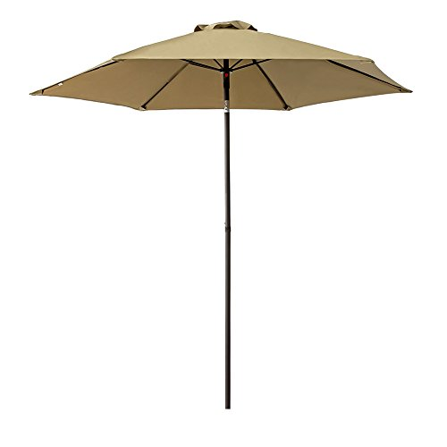 FLAME&SHADE 7.5' Patio Umbrella Outdoor Market Style for Small Balcony Garden Restaurant Café Backyard with Tilting, Beige ()