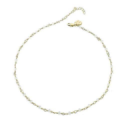 Fettero Women Dainty Gold Chocker Handmade Beaded 14K Gold Fill Necklace with Lucky White Beads Opal Hypoallergenic