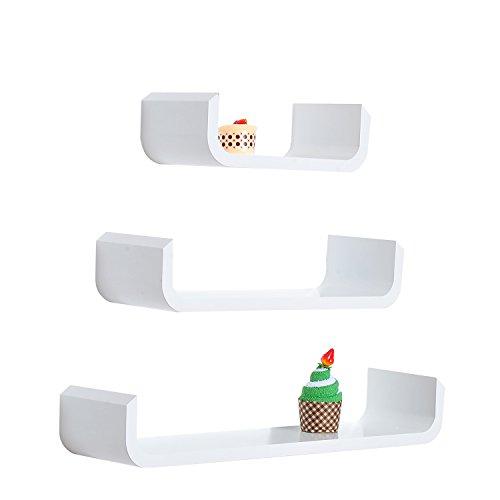 HOMCOM Estante de Madera Estante Flotante Pared de 3 Piezas para Libros y Decoracion Estanteria Colgante - Color Blanco