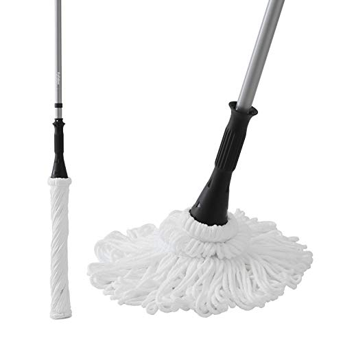 Self Wringing Ratchet Twist Mop - Ey.liden Microfiber Twist Mop Easy Self-Wringing Mop with 2 Microfiber heads for All Sort of Floors - Wooden Floor Tiles Matte Finish Floor Tiles