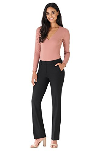 Rekucci Women's Smart Stretch Desk to Dinner Straight Leg Pant w/Zipper Closure (8,Black)